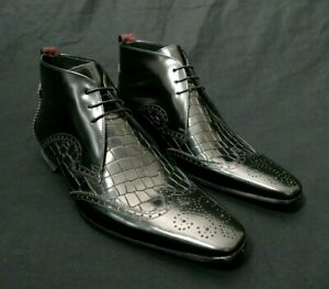 JEFFERY-WEST BLACKLINE Black and Crocodile Leather ESCOBAR Chukka Boots UK 8