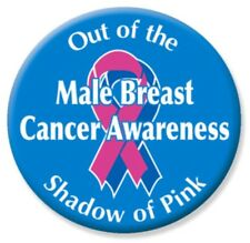 Male Breast Cancer Awareness Pin-back Button, 2 1/4""