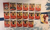 TOPPS UEFA CHAMPIONS LEAGUE 2020/21 FULL TEAM SET OF ALL 18 LIVERPOOL STICKERS