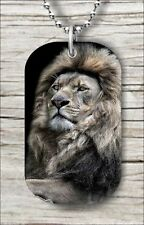 "Dog Tag Pendant and ""Free Chain"" -mlo0Z Lion King Of Wild Life Animals World"