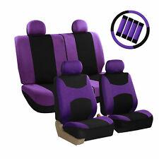 Car Seat Covers Purple Full Set for Auto w/Steering Wheel/Belt Pad/4Head Rest