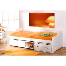 Lit banquette enfant 90 x200 combiné design tiroirs et rangement massif BLANC