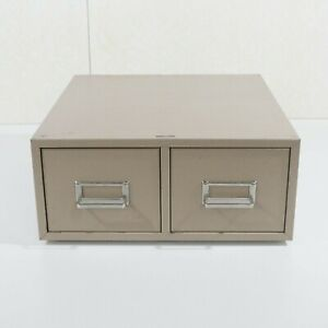 Vintage Buddy Products 2 Drawer File Card Box Cabinet Tan Made in USA