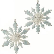 """RAZ Imports 5.5"""" Glittered Blue & White Snowflake Christmas Ornament~Set 2"""