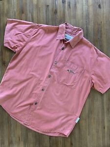 QUICKSILVER Size L Vintage Short Sleeve Button Shirt in Pale Pink Men's JU156