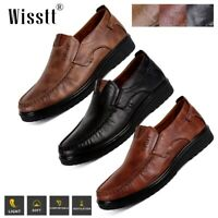 Men's Casual Leather Driving Loafers Breathable Antiskid Slip On Moccasins Shoes