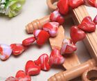 10pcs 18mm Heart Stripe Lampwork Glass DIY Finding Charms Loose Spacer Beads Red