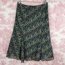 Courtenay Chiffon Skirt 10 Floral Black Teal Green Midi Pull on