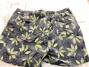 Mens Tommy Bahama Gray green leaf print Swim Trunks XL side, back pockets