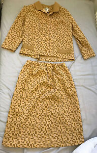 Vintage Skirt Suit Yellow Brown Patterned 70s? Crimpolene Size 18 Fits Smaller