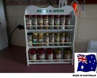 Spice Rack will hold up to 30 jars HERB & SPICE  IN WHITE   Made in Australia
