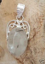 Clear Black Rutilated Quartz Crystal 925 Sterling Silver Pendant Natural Stone