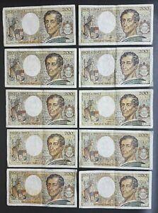 FRANCE - FRANCIA - FRENCH NOTES - LOT DE 10 BILLETS DE 200F MONTESQUIEU - W1.