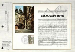 1875++FEUILLET CEF  1erJOUR 1976   ROUEN 1976 49° CONGRES NATIONAL DE PHILATELIE