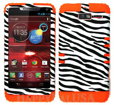KoolKase Hybrid Cover Case for Motorola Droid Razr M XT907 - Zebra White