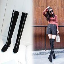 Women's Suede Front Zip Over Knee Boots Block High Heels Winter Fashion Shoes