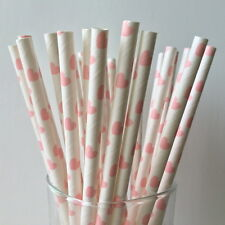 Paper Straws Pink Hearts For Party Birthday Wedding 25Pcs Biodegradable
