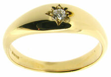 Signet Round Not Enhanced Yellow Gold Fine Diamond Rings