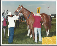 SECRETARIAT, LUCIEN LAURIN & EDDIE SWEAT - ORIGINAL 1973 PREAKNESS STAKES PHOTO!