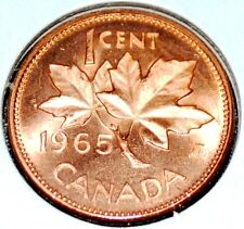 Canada 1965 LBB5 1 Cent BU Canadian Penny Nice UNC Large Beads Blunt 5