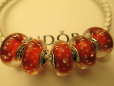5 Authentic Pandora Silver 925 Ale Red Effervescence Clear Beads Charms 791631CZ