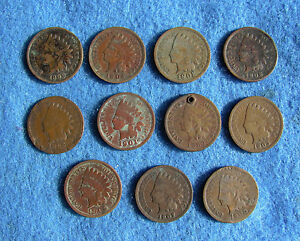Fantastic Lot (11) Indian Head cents all different dates