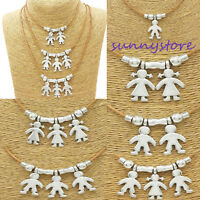 Silver Kids Charms Necklace Boy Girl Chain Family Mother Pendant Jewelry XMAS