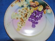 NIPPON HAND PAINTED PLATE WITH GRAPES BRILLIANT COLORS  8.5 INCH DIAMTR VINTAGE