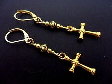 Dangly Cross Leverback Hook Earrings. New. A Pair Of Cute Gold Colour