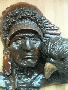 Native American Indian Chief with Eagle retro wall hanger plaque kitsch