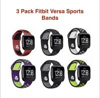 Silicone Sport Band for Fitbit Versa Replacement  Activity Tracker ~ 3 Pack