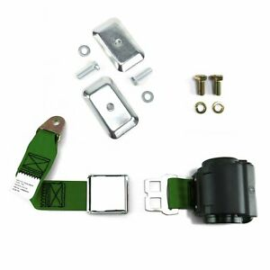 2pt Army Green Airplane Buckle Retractable Lap Seat Belt w/Plate Hardware