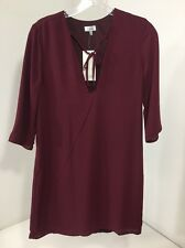 TOBI WOMEN'S 3/4 SLEEVE BETHANY SHIFT DRESS BURGUNDY XS NWT
