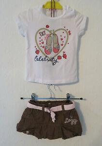 Baby Set ° L.O.G.G. Rock Gr. 62 braun + J.N.S. T-Shirt weiß Mädchen Kleidung