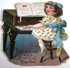 Groß Vintage Mechanisch Valentin Karte-W / Mädchen Playing Piano