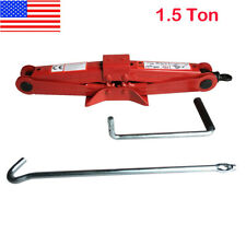1.5 Ton Scissor Jack Auto Car Emergency Chromed Crank Lift Stand Tool Red US