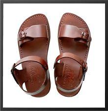 Brown Jesus Sandals Camel Genuine Leather Greek Roman Men Shoes US 5-12 EU 36-46