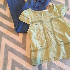 L Anthropologie Meadow Rue Green Eyelet Open Knit Button Blouse Top Large 10