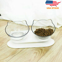 Cat Durable Non-slip Double Bowls with Raised Stand Cat Food Water Pet Feeder US