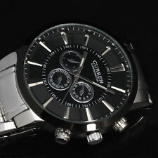 Silver with Black Dial Cool Men's CURREN Business Stainless Steel Wrist Watch