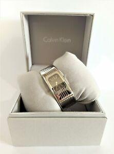 Calvin Klein K8124107 Fractal Black Dial Silver Tone Stainless Steel Bracelet...