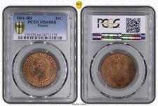 O1873 EXCEPTIONNELLE 10 Centimes Napoléon III 1861 BB Strasbourg PCGS Ms64 CI !!