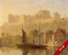 WINDSOR CASTLE FROM RIVER THAMES LONDON ENGLAND PAINTING ART REAL CANVAS PRINT
