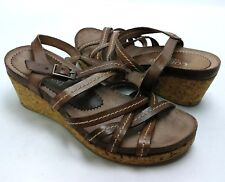 CORDANI CALZATURE Leather Strappy Sandals Cork Wedge Womens EURO Size 35