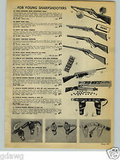 1954 PAPER AD Toy Rifle Gun Daisy Defender Pump S-Bar-M Holster Set Cowboy
