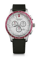 Victorinox Alliance Sport Chrono Tachymeter White Dial Leather Mens Watch 241819