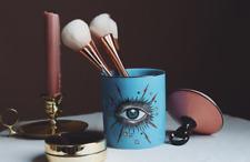 Eye Graphic Print Pop Art Ceramic Jar with Lid Make-up Brushes Holder Desk Decor