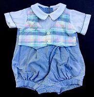 Goodlad 12M Baby Boy Bubble Romper Pastel Vest One-Piece Short Sleeves