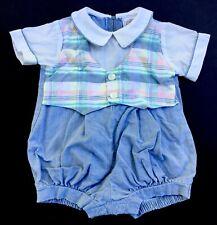 Boys PETIT AMI Blue SAILOR Bubble Romper Set 3m Onepiece Shortall Outfit Twins