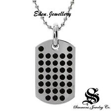 US$250 AUTHENTIC Designer SIMMONS Men Diamond Stainless Steel Necklace Dog Tag